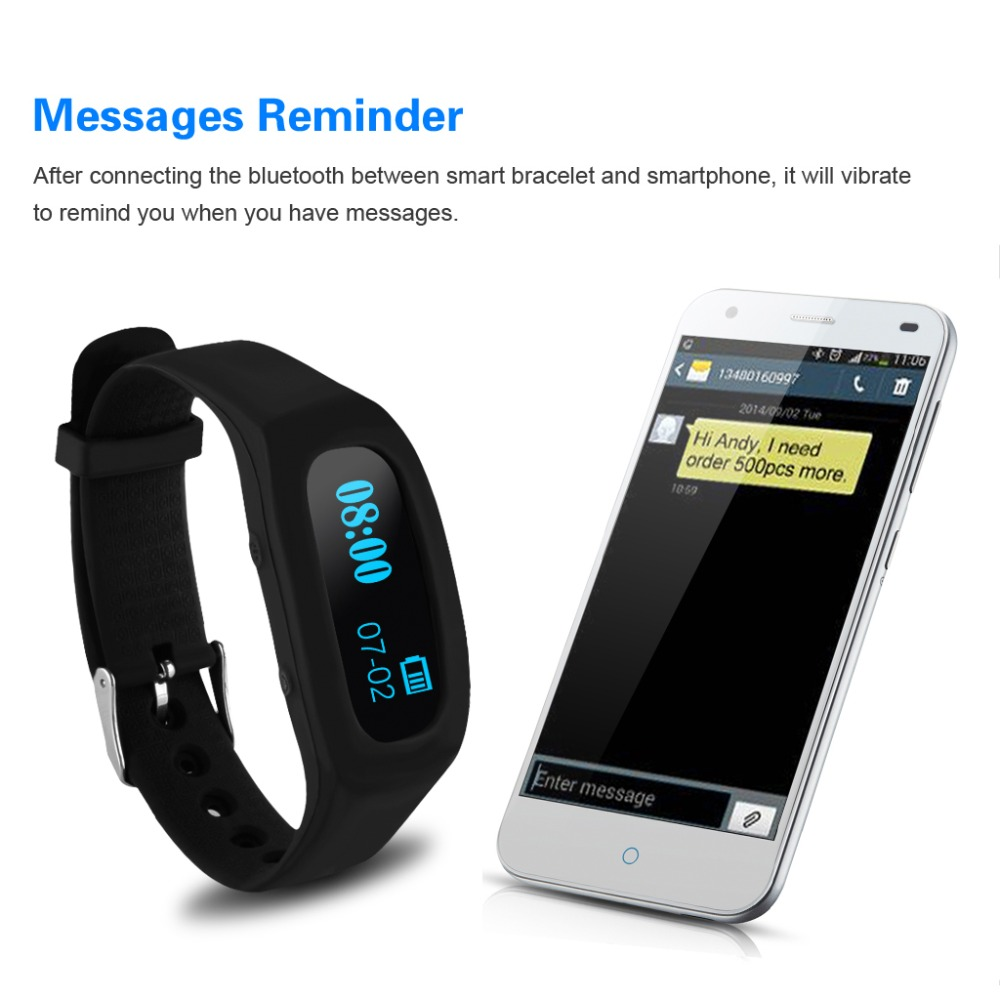 Excelvan Oled Smart Bracelet Bluetooth Sport Watch Pedometer Sleep Monitoring Calorie Counter Fitness Tracker For Android Ios